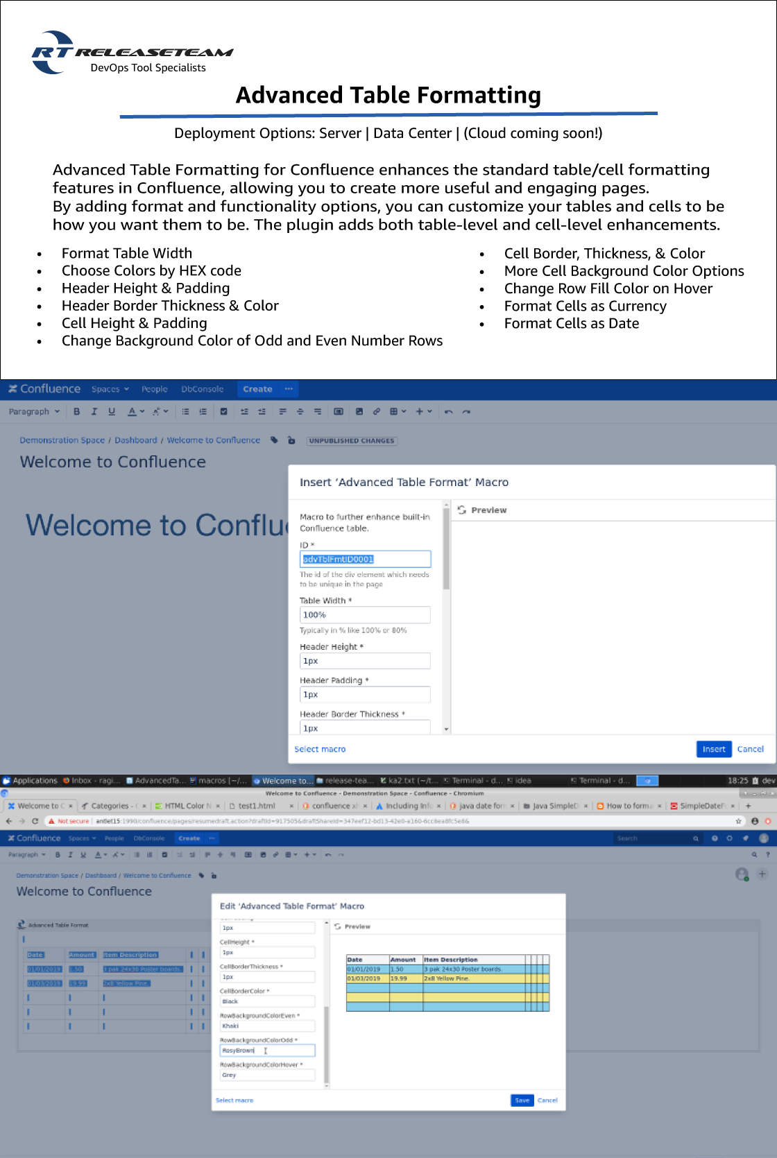 Documentation screenshots for Advanced Table Formatting for Confluence
