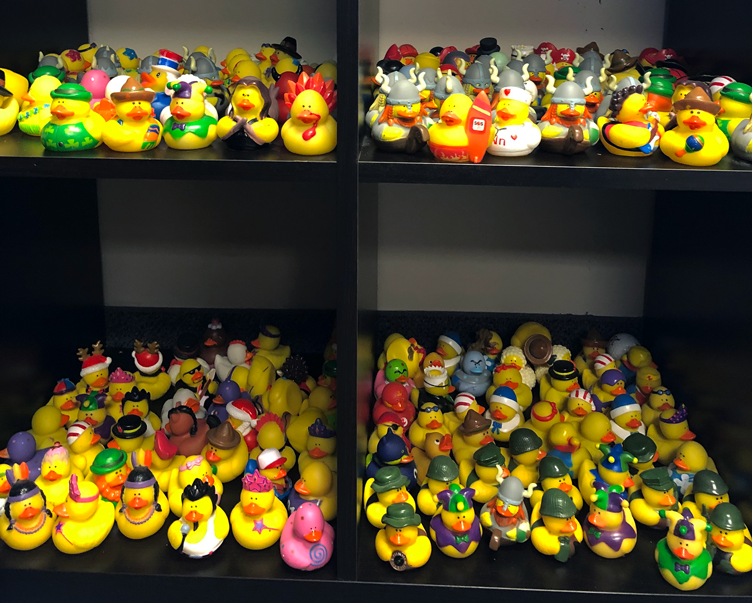 a shelf covered with rubber ducks