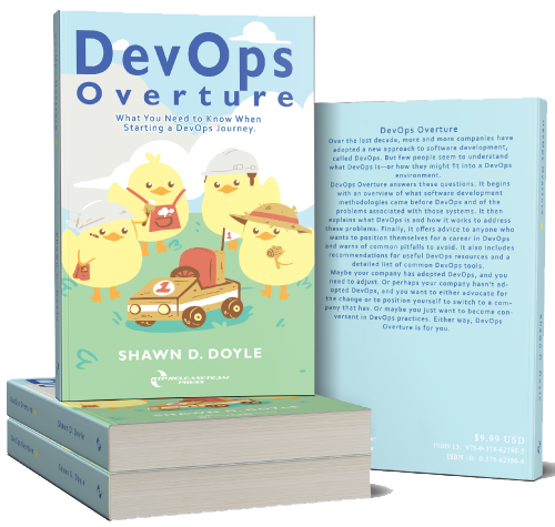 a stack of the book DevOps Overture
